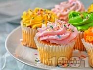 Рецепта Лесни и вкусни къпкейкове с цветен маслен крем за деца